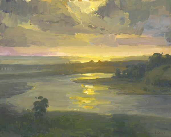 "American Legacy Fine Arts presents ""Sunset over Batiquitos Lagoon"" a painting by Peter Adams."