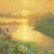 "American Legacy Fine Arts presents ""Sunset Wash; Batiquitos Lagoon"" a painting by Peter Adams."