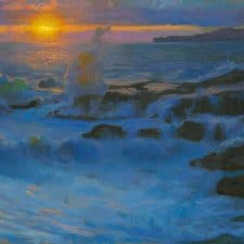 "American Legacy Fine Arts presents ""Surge at Sunset"" a painting by Peter Adams."