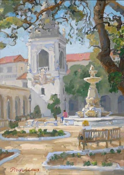"American Legacy Fine Arts presents ""Under the Oak; Pasadena City Hall"" a painting by Peter Adams."