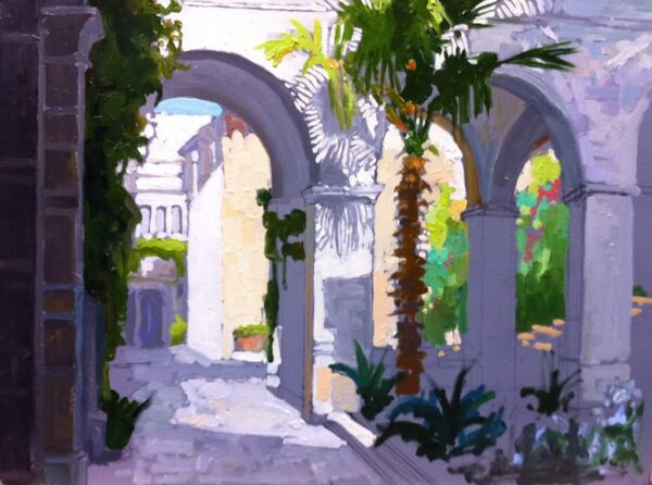 "American Legacy Fine Arts presents ""View of the Church of Flagellation (2nd Station), Jerusalem"" a painting by Peter Adams."