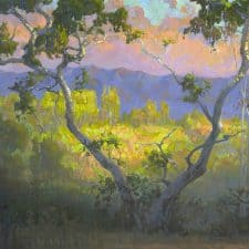 "American Legacy Fine Arts presents ""View of Amir's Garden at Sunrise; Griffith Park"" a painting by Peter Adams."