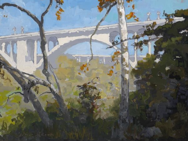 "American Legacy Fine Arts presents ""View of Colorado Street Bridge through the Sycamores"" a painting by Peter Adams."