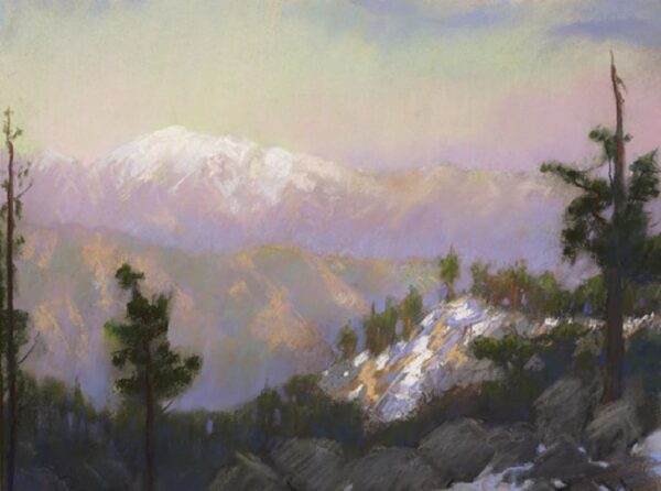 "American Legacy Fine Arts presents ""View from Mt. Baldy from Mt. Waterman at Dusk"" a painting by Peter Adams."