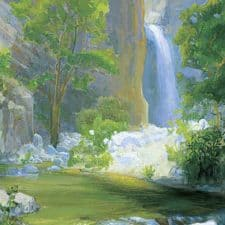 "American Legacy Fine Arts presents ""Waterfall at Eaton Canyon"" a painting by Peter Adams."