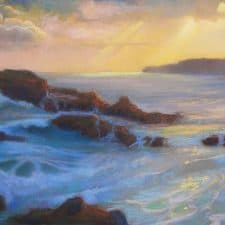 "American Legacy Fine Arts presents ""Winter Evening Light, Abalone Cove, Palos Verdes"" a painting by Peter Adams."