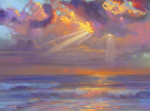 "American Legacy Fine Arts presents ""Winter Sunset"" a painting by Peter Adams."