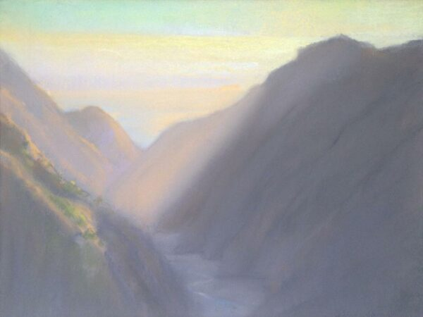 "American Legacy Fine Arts presents, ""Afternoon Rays at Silver Canyon Catalina Island"" a painting by Peter Adams."