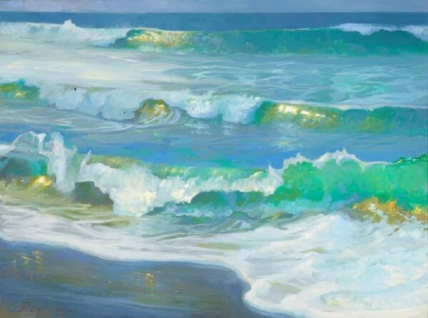 "American Legacy Fine Arts presents "" Light on Morning Waves"" a painting by Peter Adams."