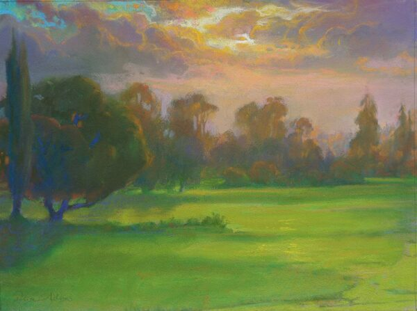 "American Legacy Fine Arts presents ""Sunset Glow over the North Course"" a painting by Peter Adams."