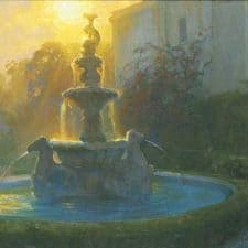 "American Legacy Fine Arts presents ""Neptune's Fountain at Sunset, Huntington Gardens, San Marino"" a painting by Peter Adams"