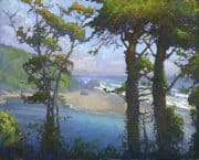"American Legacy Fine Arts presents ""Klamath River Meets the Sea"" a painting by Peter Adams."