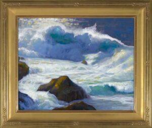 "American Legacy Fine Arts presents ""Rocky Point Break; Carmel, California"" a painting by Peter Adams."