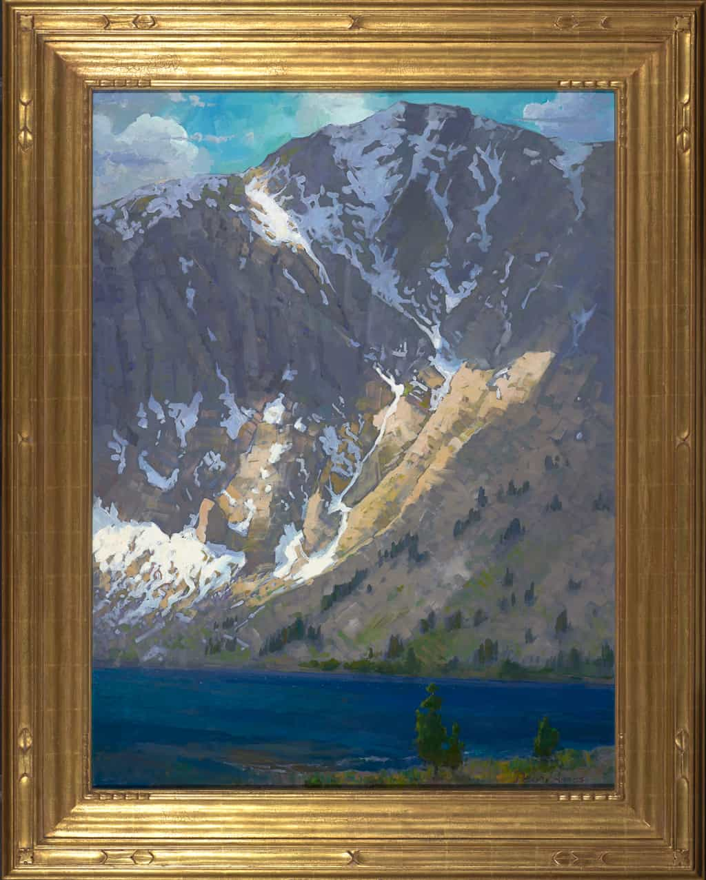 "American Legacy Fine Arts presents ""Windy Afternoon, Convict Lake"" a painting by Peter Adams."
