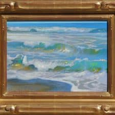 "American Legacy Fine Arts presents ""Morning Surf Glare; Oceanside, California"" a painting by Peter Adams"