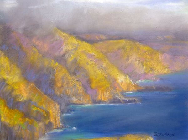 "American Legacy Fine Arts presents ""Fogbank over Catalina's Western Cliffs"" a painting by Peter Adams"
