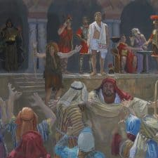 "American Legacy Fine Arts presents ""14 Stations of the Cross (1) Jesus is Condemned"" a painting by Peter Adams."