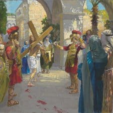 "American Legacy Fine Arts presents ""14 Stations of the Cross (2) Jesus is Given the Cross"" a painting by Peter Adams."