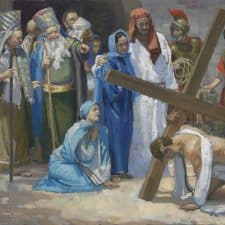 "American Legacy Fine Arts presents ""14 Stations of the Cross (3) Jesus Falls for the First Time"" a painting by Peter Adams."