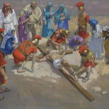 "American legacy Fine Arts presents ""14 Stations of the Cross (11) Jesus is Nailed to the Cross"" a painting by Peter Adams."
