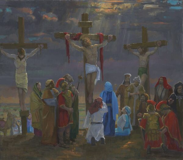 "American Legacy Fine Arts presents ""14 Stations of the Cross (12) The Crucifixion"" a painting by Peter Adams."