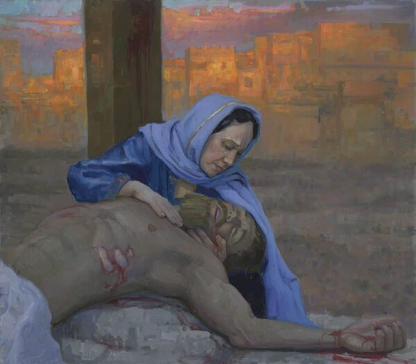 "American Legacy Fine Arts presents ""14 Stations of the Cross (13) Jesus is Taken Down from the Cross"" a painting by Peter Adams."