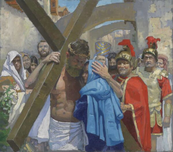 "American Legacy Fine Arts presents ""14 Stations of the Cross (4) Jesus Meets His Mother"" a painting by Peter Adams."