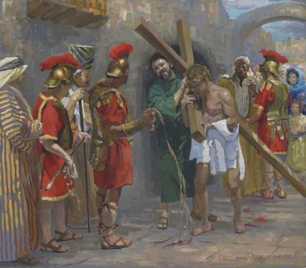 "American Legacy Fine Arts presents ""14 Stations of the Cross (5) Simon of Cyrene Helps Jesus Carry the Cross"" a painting by Peter Adams."
