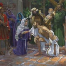 "American Legacy Fine Arts presents ""14 Stations of the Cross (6) Veronica Wipes Jesus' Face"" a painting by Peter Adams."
