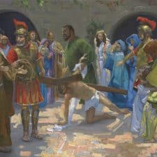 "American Legacy Fine Arts presents ""14 Stations of the Cross (7) Jesus Falls for the Second Time"" a painting by Peter Adams."