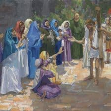 "American Legacy Fine Arts presents ""14 Stations of the Cross (8) Jesus Speaks to the Women of Jerusalem"" a painting by Peter Adams."