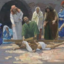 "American Legacy Fine Arts presents ""14 Stations of the Cross (9) Jesus Falls for the Third Time"" a painting by Peter Adams."