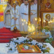 "American Legacy Fine Arts presents ""Paschal Service; Russian Orthodox Church"" a painting by Peter Adams."