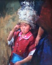 """American Legacy Fine Arts presents """"What Happened, Boy from Guizhou"""" a painting by Jove Wang."""