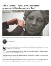 American Legacy Fine Arts presents Christopher Slatoff in The Los Angles Times for Hecuba, Queen of Troy sculpture in new USC Village.