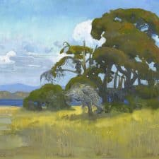 "American Legacy Fine Arts presents ""View of Guadalupe Lake from Cabrillo Highway"" a painting by Peter Adams."
