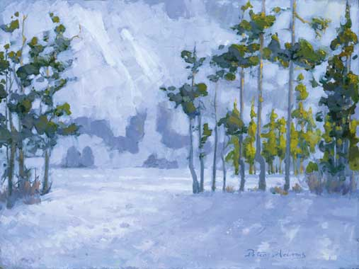 "American Legacy Fine Arts presents ""Winter at Castle Lake, Shasta, California"" a painting by Peter Adams."