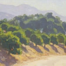 "American Legacy Fine Arts presents, ""Hillside Orchard"" a painting by Dan Shultz."