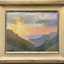 "American Legacy Fine Arts presents ""Sunset from the Fire Road,Catalina"" a painting by Peter Adams."