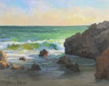 "American Legacy Fine Arts presents ""Windy Afternoon at Leo Carillo Beach"" a painting by Peter Adams."