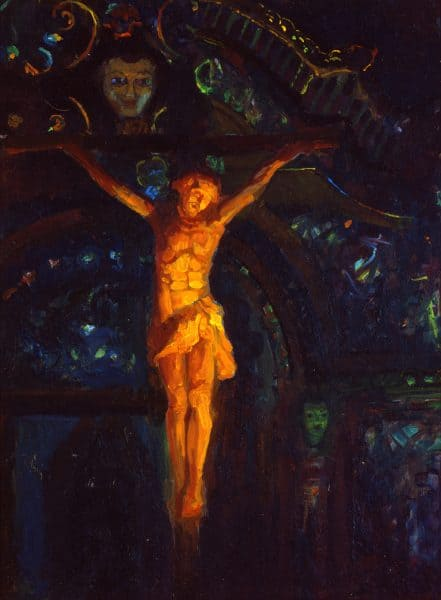 "American Legacy Fine Arts presents ""Light in Serra Chapel; Mission San Juan Capistrano"" a painting by Peter Adams."