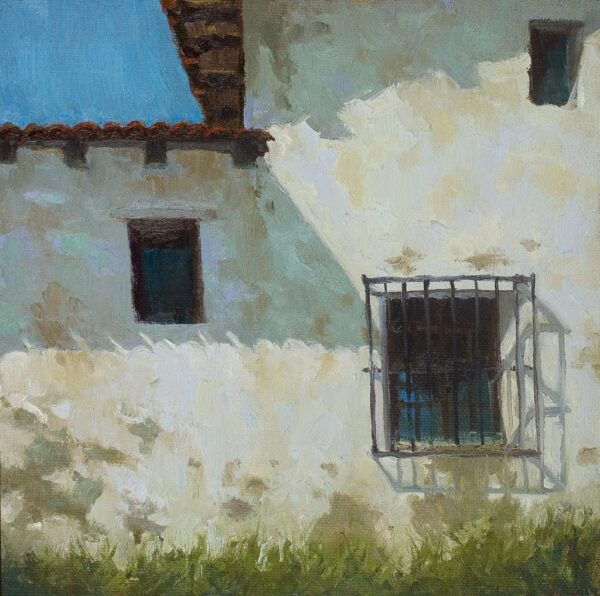 "American Legacy Fine Arts presents ""Carmel Mission Facade"" a painting by Jennifer Moses."