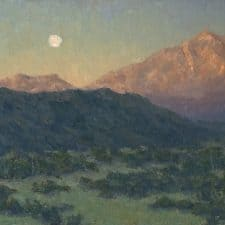 "American Legacy Fine Arts presents ""Moon's Morning Slumber"" a painting by Jennifer Moses."