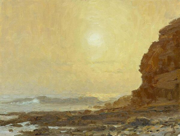 "American Legacy Fine Arts presents ""Misty Sunset at Cabrillo Beach"" a painting by Stephen Mirich."