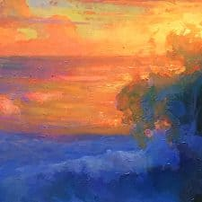 "American Legacy Fine Arts presents ""Evening Splash; Leo Carrillo Beach"" a painting by Peter Adams."