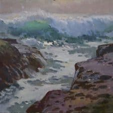 "American Legacy Fine Arts presents ""Shore Breakers at Aliso Beach"" a painting by Ray Roberts."