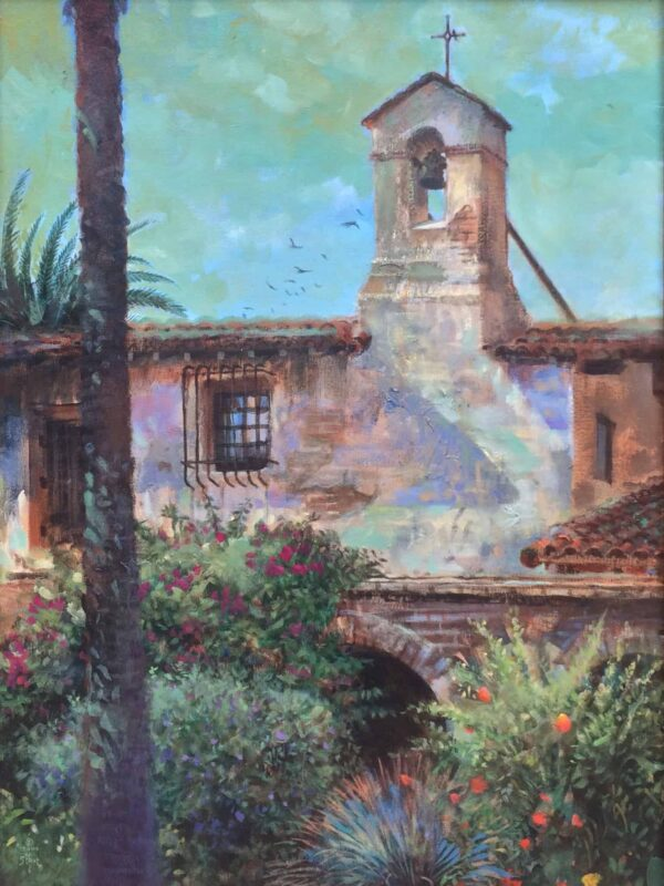 "American Legacy Fine Arts presents ""Mission San Juan Capistrano"" a painting by William Stout."