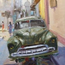 "American Legacy Fine Arts presents ""Up on Blocks in Havana"" a painting by Scott W. Prior."