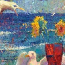 "American Legacy Fine Arts presents ""Seagulls and Shattered Sun"" a painting by Christopher Cook."