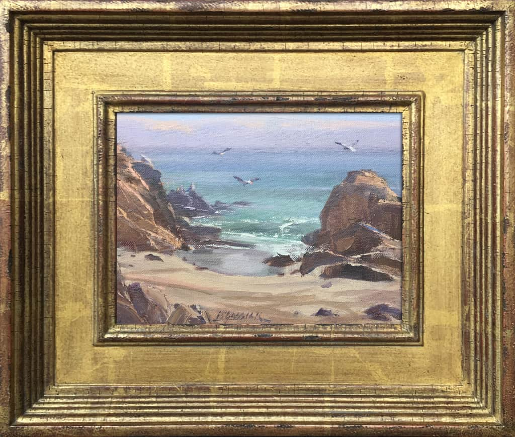 "American Legacy Fine Arts presents ""Peaceful Day at Leo Carrillo"" a painting by Jean LeGassick."
